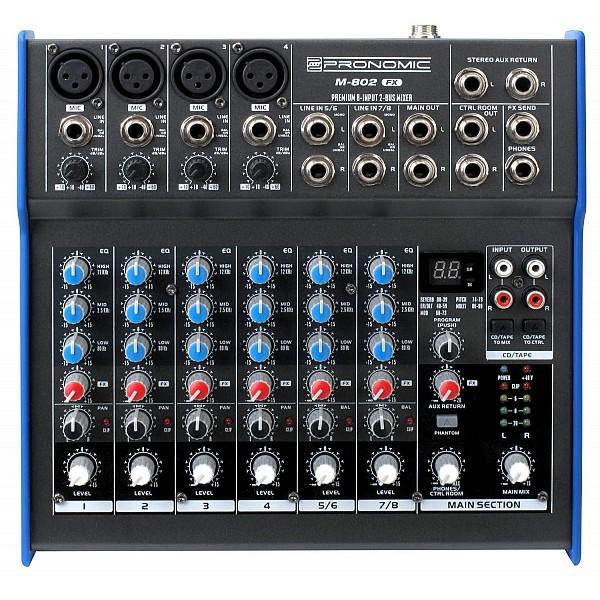 Pronomic M-802FX - mini mixpult, 8 kanálov + efekty