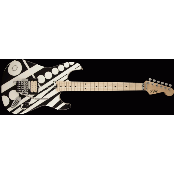 Fender EVH® Striped Series Circles, Maple Fingerboard, Black and White Crop Circles Graphic